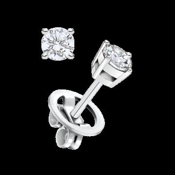 Pendientes de oro blanco con diamante 0,30 ct.