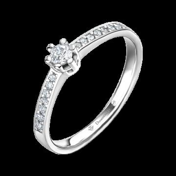 Anillo de compromiso oro blanco con diamantes 0,20 ct.