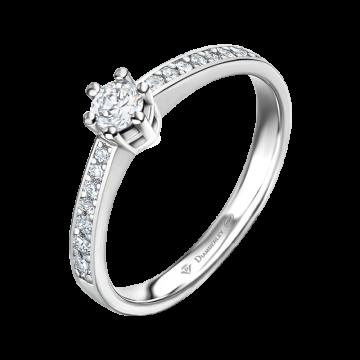 Anillo de compromiso oro blanco con diamantes 0,24 ct.