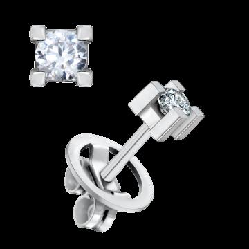 Pendientes de oro blanco 18 kts con diamante 0,20 ct.