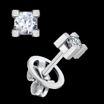 Pendientes de oro blanco 18 kts con diamante 0,30 ct.