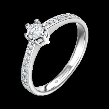 Anillo de compromiso oro blanco con diamantes 0,33 ct.