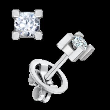 Pendientes de oro blanco 18 kts con diamante 0,40 ct.