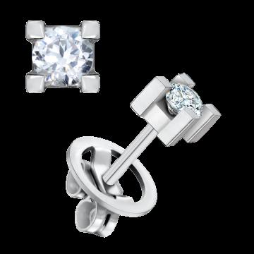Pendientes de oro blanco 18 kts con diamante 0,50 ct.