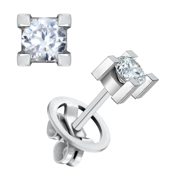 Pendientes de oro blanco 18 kts con diamante 0,60 ct.