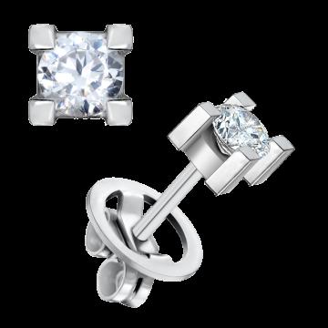 Pendientes de oro blanco 18 kts con diamante 0,70 ct.