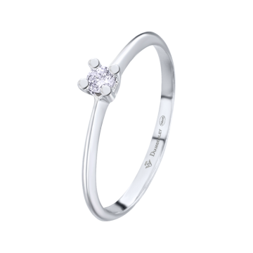 Anillo de compromiso oro blanco con diamante 0,08 ct.