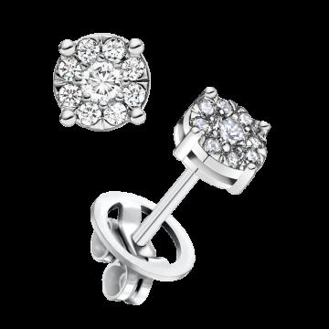 Pendientes de oro blanco con diamantes 0,28 ct.