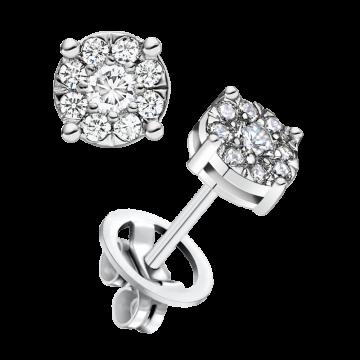 Pendientes de oro blanco con diamantes 0,44 ct.