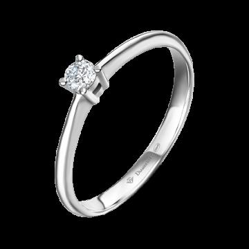 Anillo de compromiso oro blanco con diamante 0,10 ct.