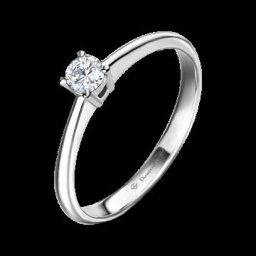 Anillo de compromiso oro blanco con diamante 0,15 ct.