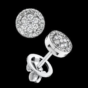 Pendientes de oro blanco con diamantes 0,40 ct.