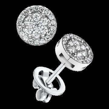 Pendientes de oro blanco con diamantes 0,72 ct.