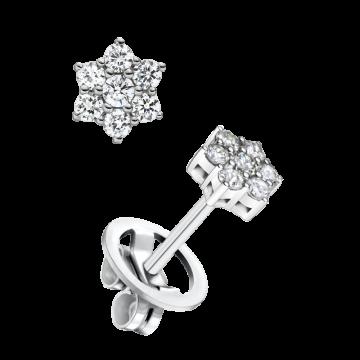 Pendientes de oro blanco con diamantes 0,17 ct.