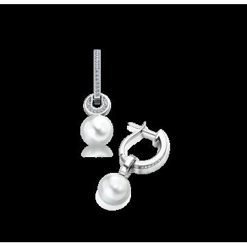 Pendientes de oro blanco con diamantes  0,35 ct y perlas australianas