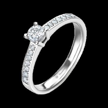 Anillo de compromiso oro blanco con diamantes 0,38 ct.