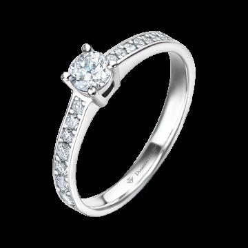 Anillo de compromiso oro blanco con diamantes 0,52 ct.