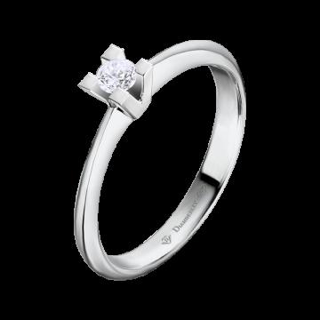 Anillo de oro blanco 18 kts. con diamante 0,10 ct.