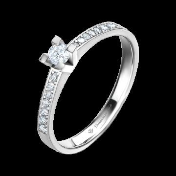 Anillo de oro blanco 18 kts con diamantes 0,20 ct.