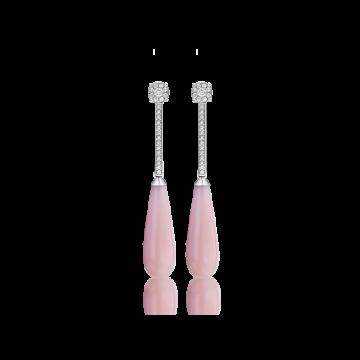 Pendientes de oro blanco con diamantes 0,32 ct y ópalo rosa