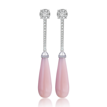 Pendientes de oro blanco con diamantes 1,24 ct y ópalo rosa