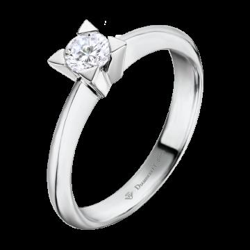 Anillo de oro blanco 18 kts. con diamante 0,25 ct.