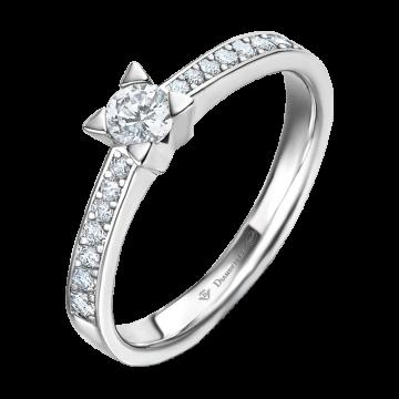 Anillo de oro blanco 18 kts con diamantes 0,24 ct.